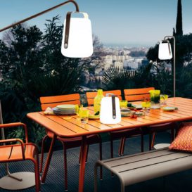 Fermob Luxembourg bench, table and chairs with balad lamp