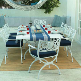 Oxleys Artemis set white with blue cushions