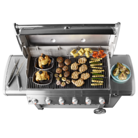 Weber Genesis II E-610 Gas grill with food