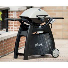 Weber Q3200 Gas grill next to wall