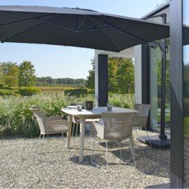 2021 M&L teak Lennon table aged - fibre Iris chair linen - aluminium Logan parasol-min