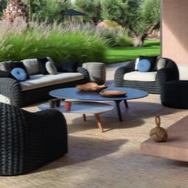 Manutti Kobo lounge black weave-