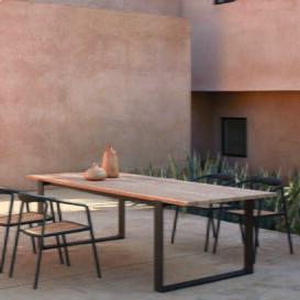 Manutti Prato dining table black frame & teak top